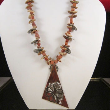 Copper Pendant Jasper and African Seed Bead Necklace
