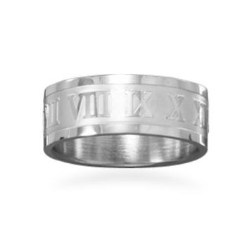 Stainless Steel Band Roman Numeral Ring