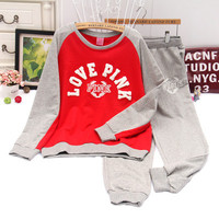 "( 2 Pcs ) "" Love Pink "" Printed Victorias Secret Like Women's Trending Popular Fashion 2016 Everyday Wear Sport Casual Hoodie Sweatshirt and Sweatpants Set _ 9317"