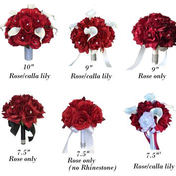 Red Rose and Calla Lily Artificial Wedding Flowers - Choose your products