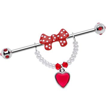 Handcrafted Red Gem Retro Sweetheart Red Bow Heart Industrial Barbell