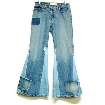 Flare Jeans, Bell Bottom Jeans, Boho Hippie Super Flare Tattered Jeans, Patchwork Wide Leg Jeans, Free People Inspired Festival Clothing