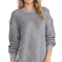 McQ Alexander McQueen Sequin Knit Crew Neck Jumper in Gray