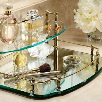 Belmont Two-tier Mirrored Vanity Makeup Tray