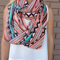 Neon Coral Geo Tribal Infinity Scarf