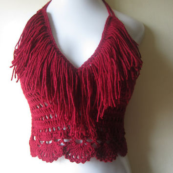 Crochet Fringe cropped halter top, BURGUNDY,  festival, bikini top, gypsy, boho bohemian, summer top, 70's top