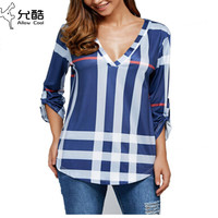 2017 spring and summer fashion plaid V-neck seven-point sleeve shirt T-shirt Jacket  Printed T-shirt  S-3L
