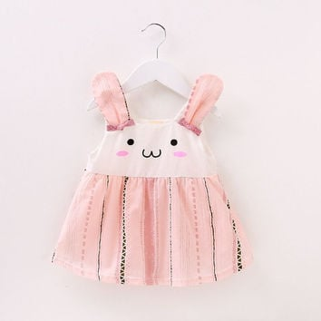 2017 Baby Dresses Girl Newborn Cotton Summer Sleeveless Cartoon Rabbit Print UV Resistant Dress Cute Baby Girl Clothing With Bow