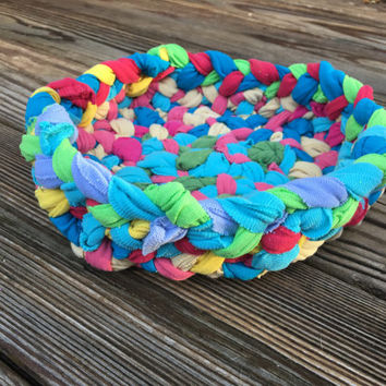 Braided Rag Rug Style Decorative Bowl, Spring Home Decor, Easter Centerpiece, Rustic Country Home Accent, Mothers Day Gift, Hostess Gift