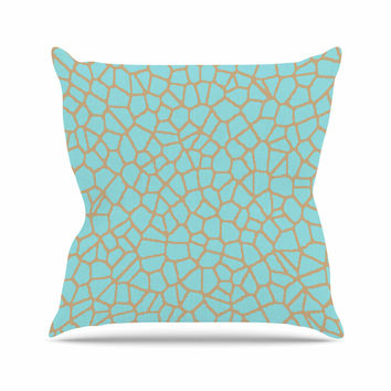 "Trebam ""Staklo III"" Blue Brown Outdoor Throw Pillow"