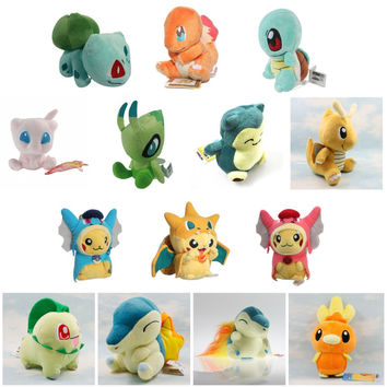 Pokemon Pikachu Cyndaquil Charmander Bulbasaur Dragonite Celebi Snorlax Torchic Squirtle Kids Plush Toys Dolls Stuffed Animals