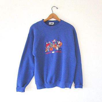 Vintage 90's HAPPY EVERYTHING Embroidered Holiday Halloween St Patrick's Day Easter Christmas Birthday Blue 50/50 Blend Sweatshirt Sz M