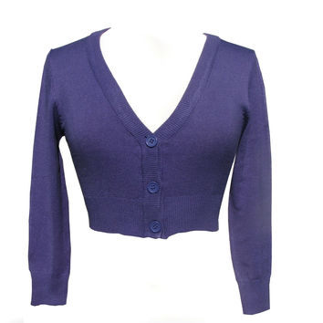 Violet Purple Cropped V-neck Cardigan Sweater Pinup retro Rockabilly 50's