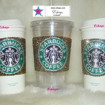 Custom Starbucks Rhinestone Hot Coffee Cup 16oz