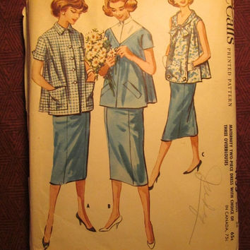 SALE Complete 1960's McCall's Sewing Pattern, 4455! Size 16 Bust 36 Medium/Large/Women's/Misses/Maternity Two-Piece Dress/blouse/Straight Sk