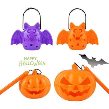 Figurines Halloween Pumpkin Cute Ghost Shout and Light Desktop Witch Skeleton Lamp with Flash Light Party Decoration