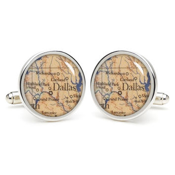 Dallas  city map  cufflinks , wedding gift ideas for groom,gift for dad,great gift ideas for men,groomsmen cufflinks,