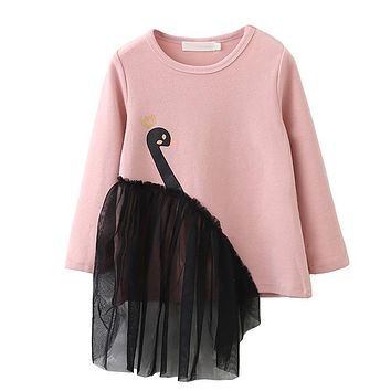 Girls T-Shirt 2018 Spring&Summer Style Children Long-Sleeve Mesh Patchwork Swan Pattern Clothes Design For Baby Girls Blouse
