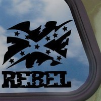 Rebel Flag Black Decal Truck Bumper Window Vinyl Sticker