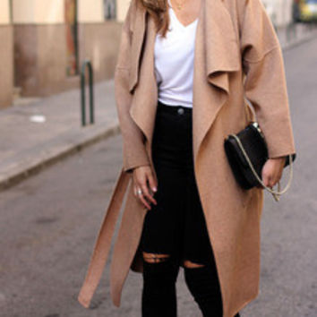 Khaki Lapel Pockets Coat