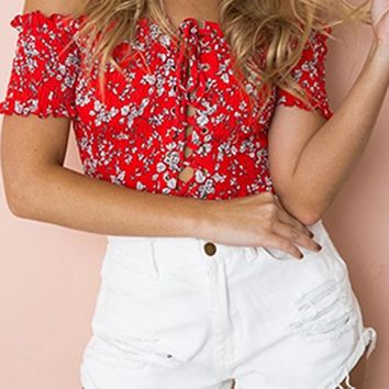 Notice Me Red Floral Pattern Short Sleeve Smocked Off The Shoulder Lace Up Crop Top