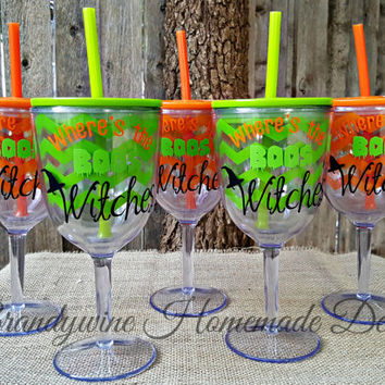 Halloween Chevron Wine Cup with Straw, Halloween Party, Double wall wine cup, Halloween Drink