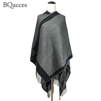 2016 New fashion black herringbone poncho scarves for women cashmere blanket scarf lady winter thick warm shawl wraps Hot Sell