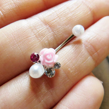 16 Gauge Boquet Rook Jewelry Piercing Pink Rose Pearl Crystal Gem Cluster Earring Ear Ring Barbell 16g G Ga Eyebrow Bar