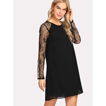 Contrast Lace Sleeve Tunic Dress