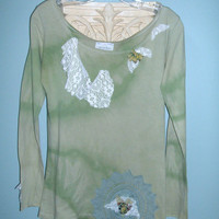 Tee Shirt, OOAK, Tie Dyed, Green, Lace Trim, Boho, Shabby, Upcycled, Long Sleeved Tee Shirt
