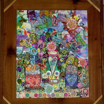 """Detailed, """"Life Is Good"""", Bright colors, Collage, Houses, Flowers, Decor, Texture, Painting, Embellishments, and hours of work!"""