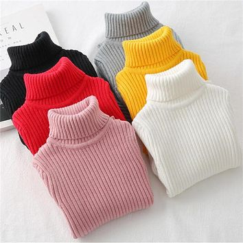 LILIGIRL Baby Girls Winter Turtleneck Sweater Colthes 2018 Autumn Boys Children Clothing Pullover Knitted Solid Kids Sweaters