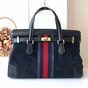 Gucci Bag Navy Suede Web Satchel, Classic Diamante Print Lining Authentic Vintage Rare Handbag, Circa 1960-1970