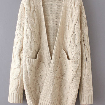 Beige Long Sleeve Cable Knit Cardigan With Dual Pockets