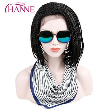 HANNE 16inch Bob Synthetic Lace Front Wig With Baby hair African American Braided Black Color Box Braids Wigs for Black Women