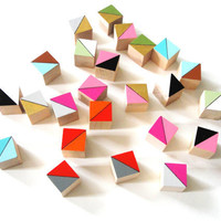 24 Mini Color Block Magnets - Hand Painted Wood Blocks in AUSTIN SET (Gold, Neon Pink, Aqua) - Geometric, Color Block