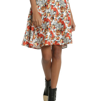 Disney Fox And The Hound Toss Print Circle Skirt