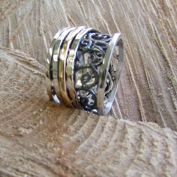 Silver and Gold Filigree Spinner Ring