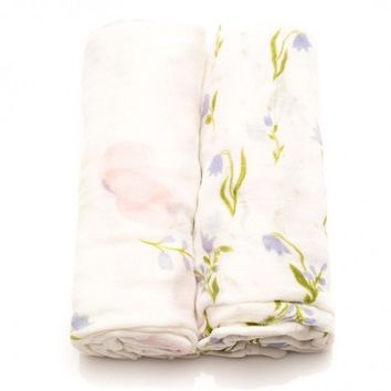 Pink Peony Bamboo Muslin Swaddle Blanket - Set of 2