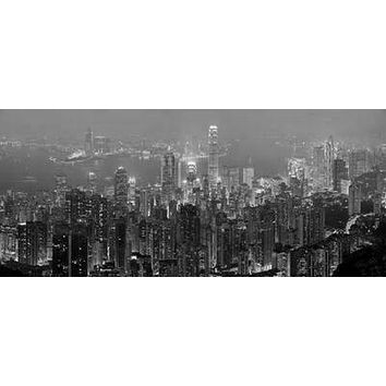 Hong Kong Skyline poster Metal Sign Wall Art 8in x 12in Black and White