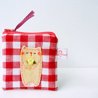 Christmas gift Coin Purse, For girlfriend, Cat Coin Purse, Coin Purse, Cat Zipper Pouch - Sweet Kitty
