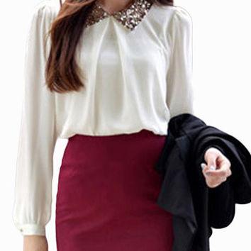 White Long Cuff Sleeve and Sequined Collar Chiffon Blouse