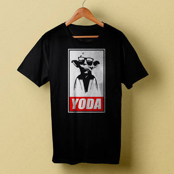 Yoda Black T-Shirt, Stars Wars Men Tee, Yoda Obey Joke T-Shirt Size S/M/L/XL/XXL