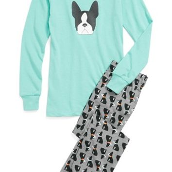 Aegean Apparel 'Boston Terrier' Two-Piece Fitted Pajamas (Big Girls) | Nordstrom
