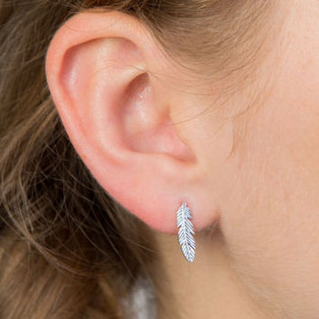 Feather Stud Silver Earrings