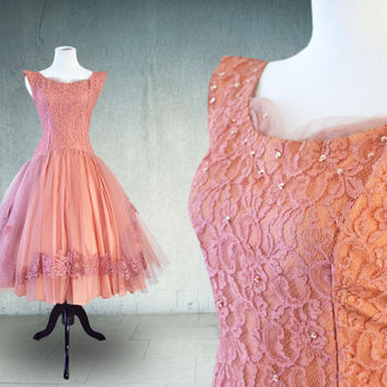 1950s Prom Dress in Dusty Rose Lace and Tulle Cupcake Dress