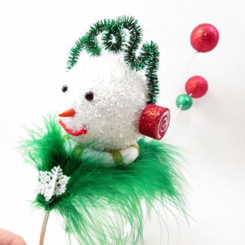 Wacky Tacky Red and Green Snowman Themed Holiday Party Hat - crazy elf hat  - Ugly Christmas Sweater - Frozen Fascinator