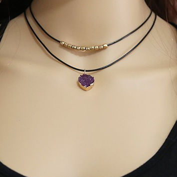 Alloy Artificial Amethyst Beaded Choker Necklace
