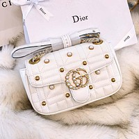 GUCCI 2018 new double G Marmont pearl quilted chain bag diagonal shoulder bag White