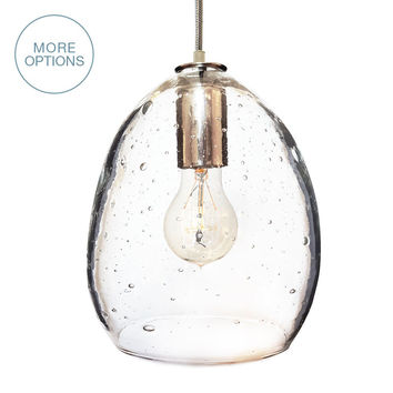 Hand Blown Seeded Glass Pendant Light
